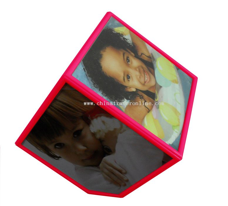 Turning cube photo frame red