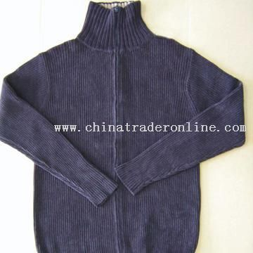 Mens 100% Cotton Chenille Sweater with Zipper