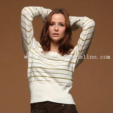 Womens Striped Cotton Sweaters with Gold and Silver Thread
