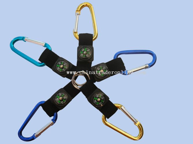 Carabiner with Compass and Hook