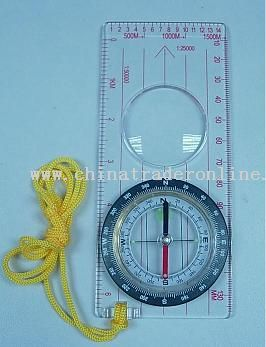 Map Compass with Magnifier Ruler
