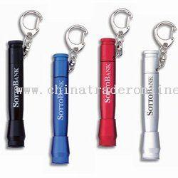 Metallic Push-Action Mini Flashlight With Key Ring Laser