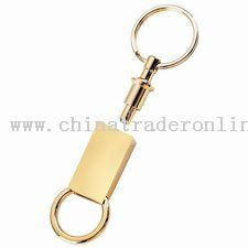 Rectangular Shiny Gold Pull Apart Keytag