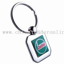 Rectangular Shiny Nickel Epoxy Center Keytag