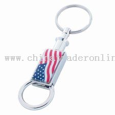 Rectangular Shiny Nickel Pull Apart Keytag With American Flag And Epoxy Dome