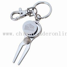 Shiny Nickel Finish Keyholder W/ Gold Divot And Magnetic Ball Marker from China