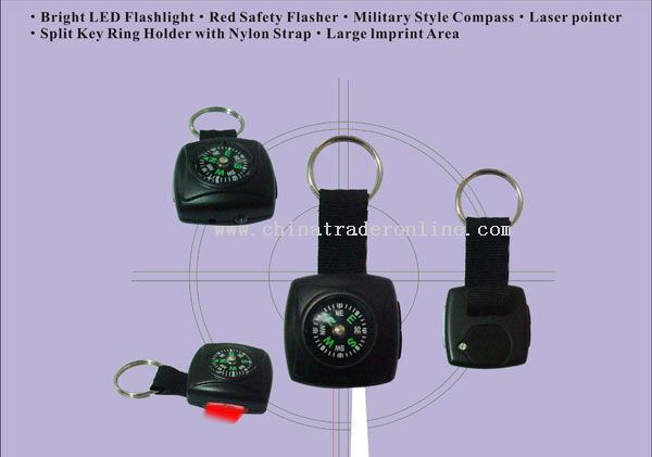 Militar compass keylight with emergency flasher and laser pointer