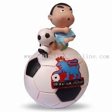 Coin Bank with Cartoon Football Design, Suitable for FIFA World Cup 2010 Promotional Gifts