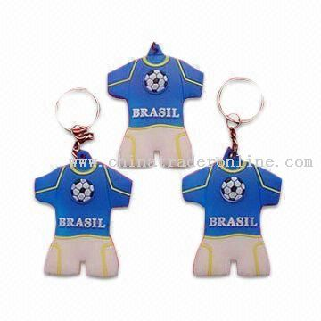 Soft PVC Keychains, Football Clothing Shape Can be Made, 2D Designs are Available