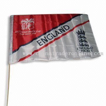 World Cup Hand Flag with Wooden or Plastic Pole
