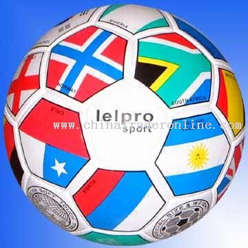 PVC Leather Hand-stitched Soccer Ball with Country Flag Printing