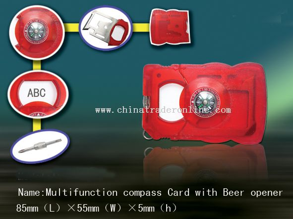 Multifunction compass card with beer opener