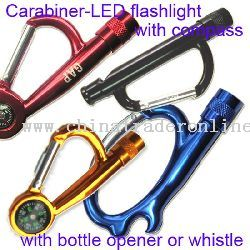 Carabiner LED Flashlight With Compass Or Bottle Opener / Whistle