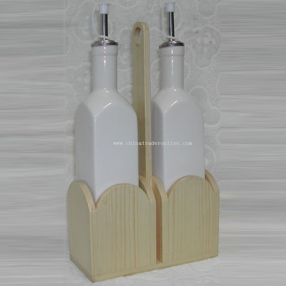 Ceramic Oil Bottle with Wooden Stand