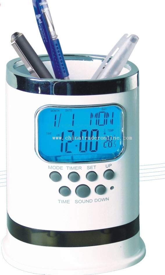 Calendar Clock with Pen Holder