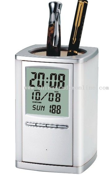 Silver Pen Holder with Alarm Clock from China