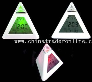 Pyramid Color Change Calendar Clock from China