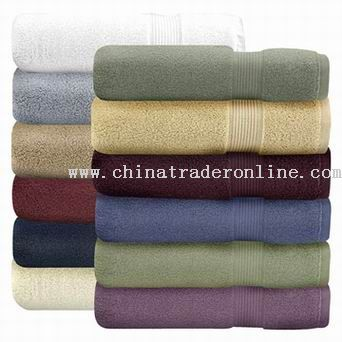 Solid Terry Bath Towel with Broad Satin Ribbon
