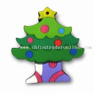 Christmas Tree Shaped USB Flash Drive with 16MB to 8GB Flash Memory