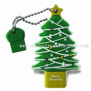 Super Talent RB 8GB USB2.0 Christmas Tree Flash Drive with Durable Solid Rubber Case