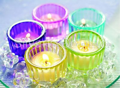 Glass candle holder for tealight