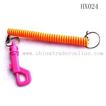 Plastic spring key chain from China