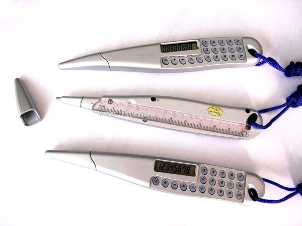 Ball pen with calculator With ruler and suspender