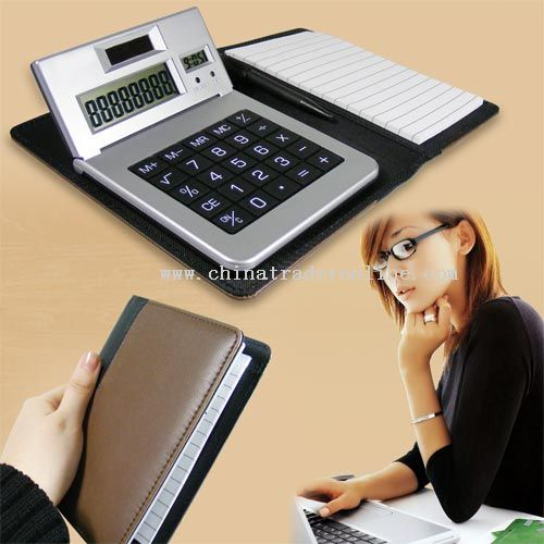 note book with 8 digits calculator with ball pen