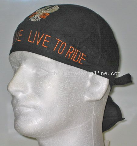 Embroidered Ride To Live Head Wrap