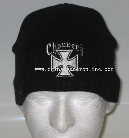 Embroidered White Chopper Beanie Cap