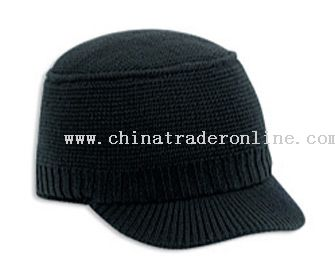 Knit Beanie with Short Visor