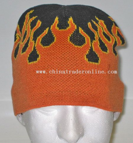 Orange Flames Beanie Cap