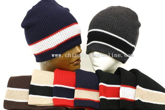 Wide Stripe Beanie Cap