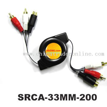 Retractable Stereo Audio + S-Video Cable