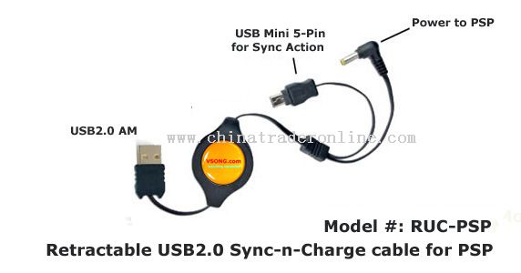 Retractable USB 2.0 Synchronised and Charge Cable for Sony PSP