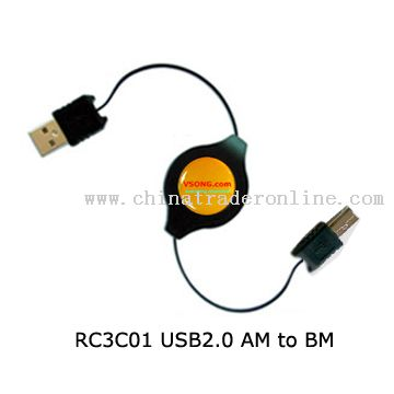 USB A Male to USB B Male retractable cable