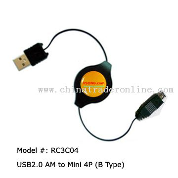 USB A Male to USB Mini 5Pin Male retractable cable