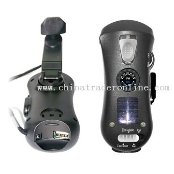 Charger10-in-1 Multifuctional Crank Dynamo Flashlights with Solar Panel