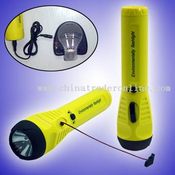Cord Pulling Dynamo Flashlight with Mobile Phone Charger