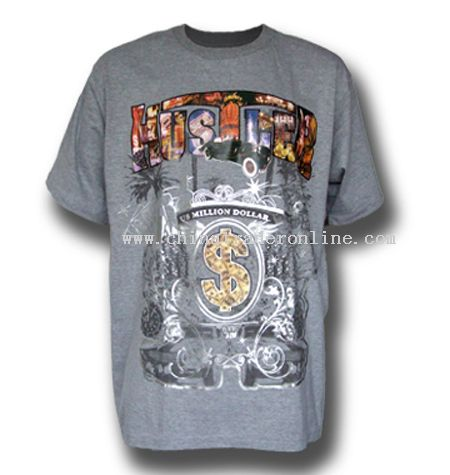 Heavy Weight Printed and Spray Beads T-Shirts from China