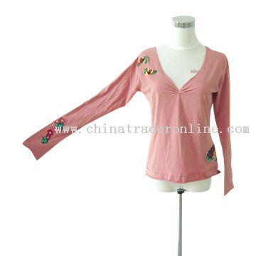 Ladies Long Sleeve V-Neck T-Shirt