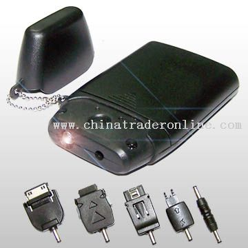 Portable Emergency Mobile Phone Battery Charger with LED Light and Five Changeable Plugs Available