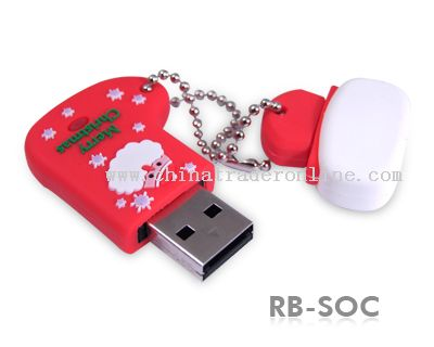 Durable Solid Rubber XMAS USB Flash Drive from China