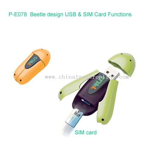 Beetle design USB & SIM Card Functions