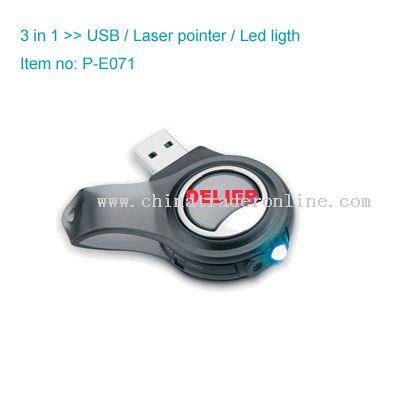 USB Flash Disk with LED Light and Laser Pointer