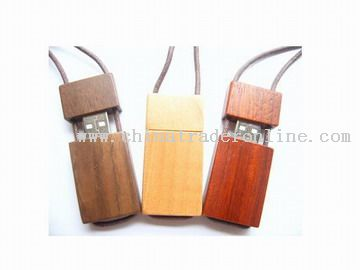 Natural wood made USB flash drive with rope
