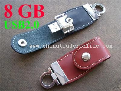 Sleak Design leather 8GB USB 2.0 USB Flash Drive with Key ring