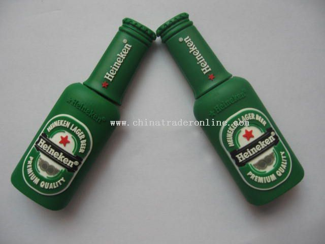 soft pvc winebottle shape usb flash drive from China