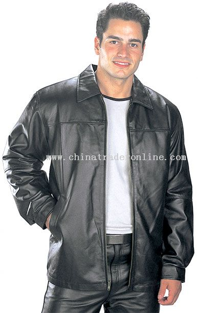 Men Black Classic Hip Length Zipper Leather Jacket