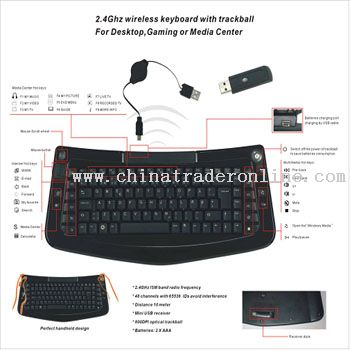 2.4G Wireless Trackball Keyboard from China